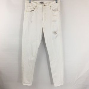 AGOLDE white hi-rise distressed skinny jeans 26